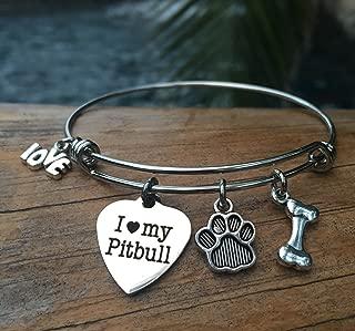 I Love My Pitbull Bracelet | Charm Bangle for Pitty Owners | Dog Jewelry