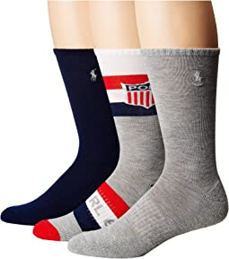 Polo Ralph Lauren - Athletic Shield Crew 3-Pack Socks