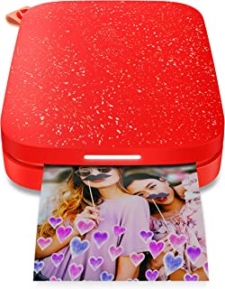 """HP Sprocket 200 Portable Photo Printer   Instantly Print 2x3"""" Sticky-Backed Photos From Your Phone   Cherry Tomato (1AS90A)"""