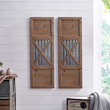 """FirsTime & Co. Raleigh Shutter Wall Plaque Set, 36""""H x 12""""W, Natural, Antique Silver,70039"""