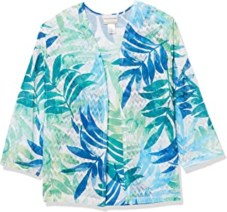 Alfred Dunner womens WATERCOLOR LEAF TWO FOR ONE Blouse
