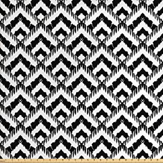 Ambesonne Black and White Fabric by The Yard, Hand Drawn Herringbone Lines Pattern Monochrome Geometric Arrangement, Decorative Fabric for Upholstery and Home Accents, 1 Yard, White Black