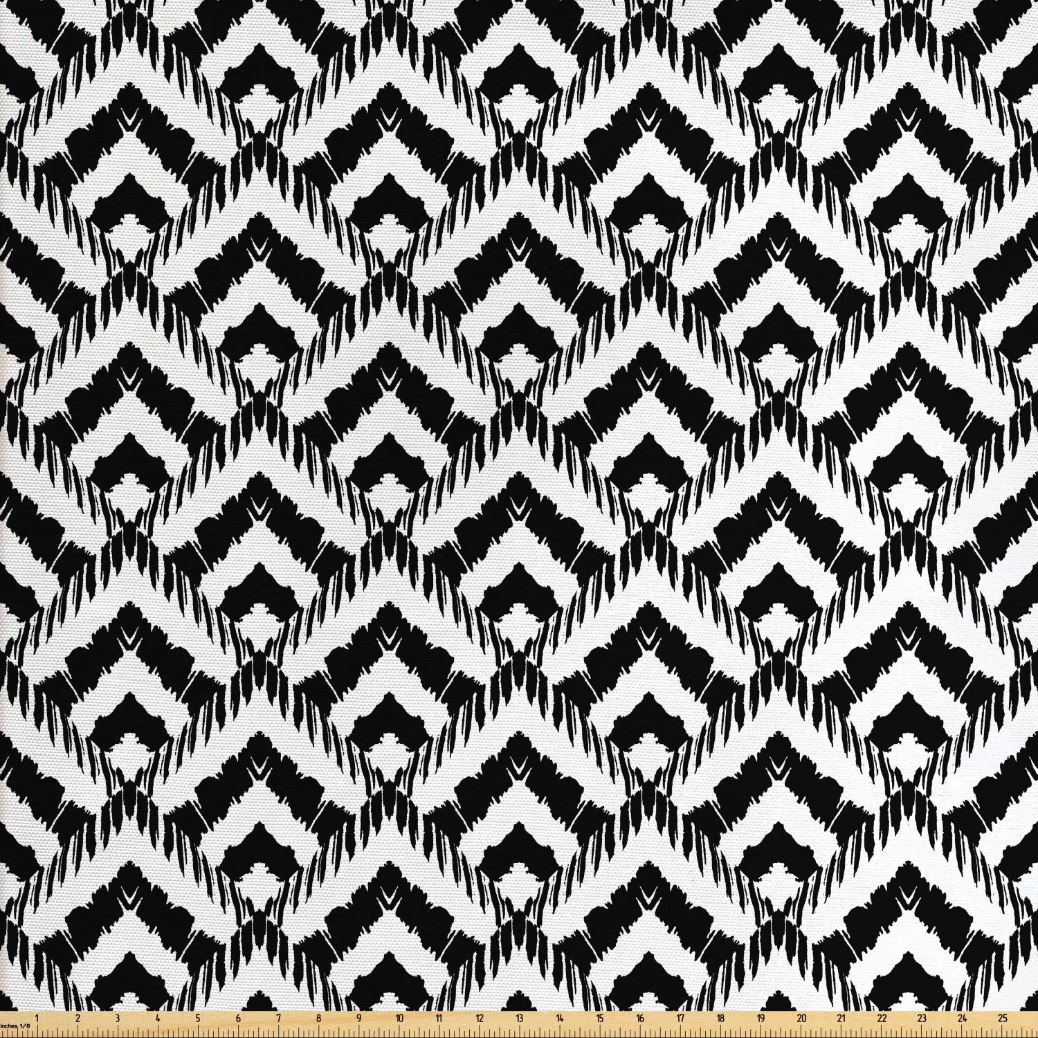 Ambesonne Black and White Fabric by The Yard, Hand Drawn Herringbone Lines Pattern Monochrome Geometric Arrangement, Decorative Fabric for Upholstery and Home Accents, 2 Yards, Black White