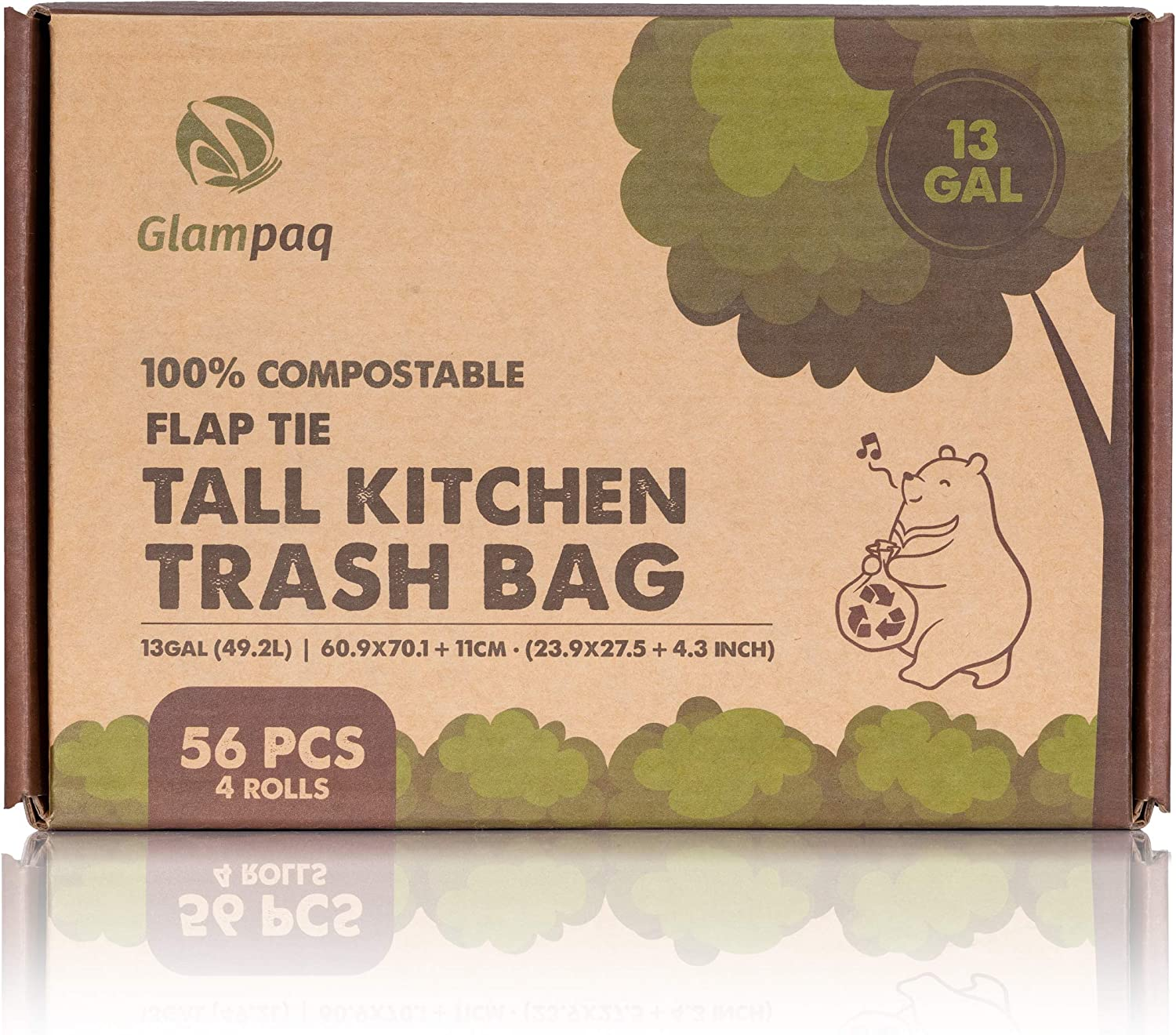 100% Shipping included Compostable Biodegradable Trash Bag Tall Kitchen 13 Recommended gallon