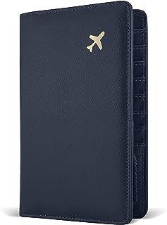 Passport Holder by POCKT - RFID Blocking Travel Wallet for Safe Trip, Document Organizer + Gift Box | Midnight Navy