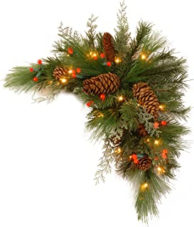 National Tree 30 Inch Decorative Collection White Pine Corner Swag with 63 Battery Operated Soft White and Red LED Lights (DC13-116-30CB-1)