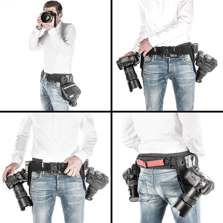 doppelt gesichert Kameraclip aus 100/% Metall verstellbar 85 gepolsterter G/ürtel Holster-Pad Walimex pro Kamera H/üftgurt mit V-Dock Argus inkl Arca-Swiss-kompatibel 145 cm