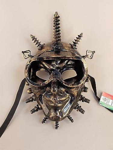 Venezianische Maske Joker SteamPunk, Karnevalsmaske (Gold)