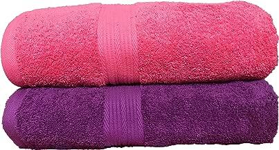 Trella 100% Cotton 500 GSM Large Cotton Bath Towel Set - 2 Piece :: 140 x 70 cm (Pink Purple)