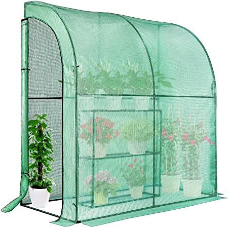 VIVOSUN Mini Lean-to Greenhouse, 39.3x78.7x82.6-Inces Portable Wall Greenhouse with PE Cover and Shelf for Compact Garden