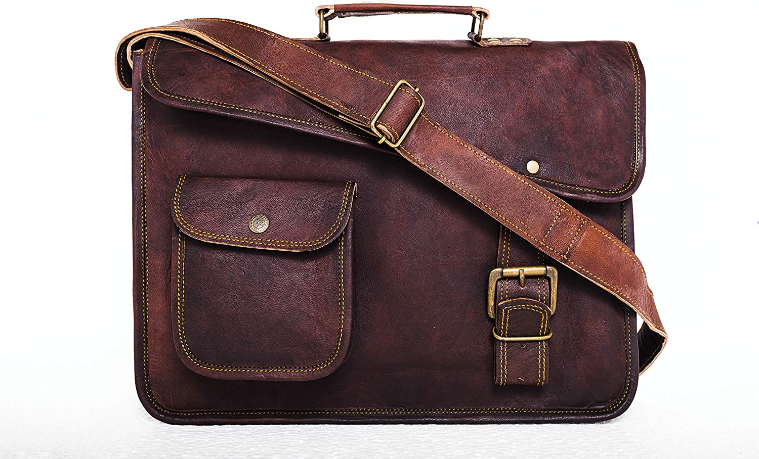 Genuine Leather Laptop Messenger Bag Office Briefcase College Bag for Men Women 15 inch Laptop Bag Computer Bag Cross Shoulder Satchel Bag School Travelling Distressed Bag