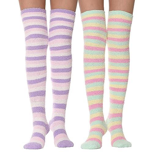 b7bf5c44078 Girls Womens Over Knee High Fuzzy Socks Stockings Fluffy Soft Warm Cozy  Cute Long Winter Christmas