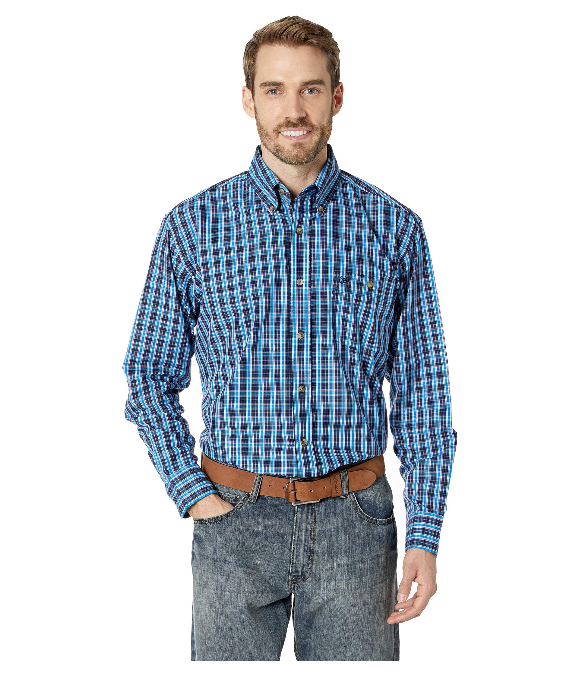 Down turquoise Wrangler Navy Button Plaid Sleeve Classic Long qRwpTO
