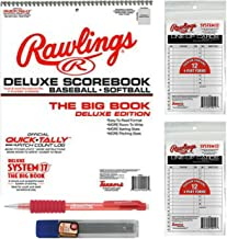 Large Baseball/Softball Scorebook Bundled with 24 Lineup Cards and Pencil With Refills