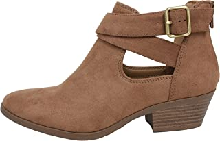 Soda Women's Closed Toe Criss Cross Buckle Cutout Low Stack Heel Ankle Boot