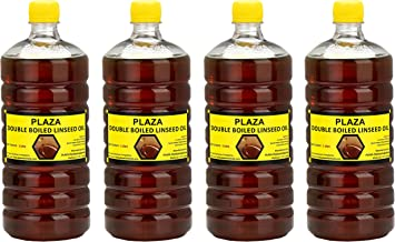 Double Boiled Linseed Oil by PLAZA- (4 x 1) Litre Pack Used for Wood Finishing, Etc.