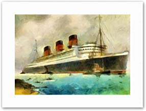Wee Blue Coo Maritime RMS Queen Mary Liner Cruise Ship Painting Canvas Art Prints