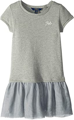 French Terry–Tulle Shirtdress (Little Kids)