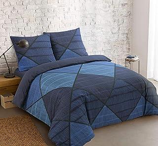 Vision Housse de Couette Harold Blue - 240x220cm avec 2 taies d'oreiller - 100% Coton