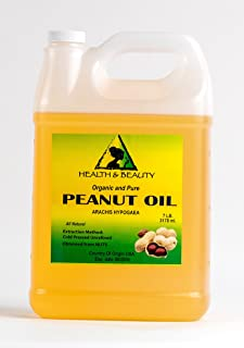 Peanut Oil Unrefined Organic Carrier Cold Pressed Virgin Raw Pure 128 oz, 7 LB, 1 gal