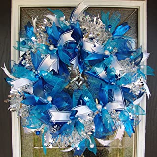 Royal Blue Teal Silver Hanukkah or Christmas Deco Mesh Front Door Wreath, Porch Patio Garden Decor, Wall Mantel Fireplace Decoration, Unique Gift Idea