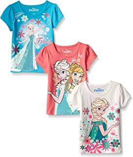 Disney Girls' 3 Pack Frozen T-Shirts