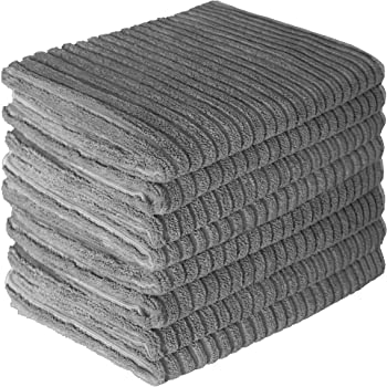 Gryeer Microfiber Kitchen Towels, Super Absorbent, Soft and Lint Free Dish Towels, One Side Ribbed One Side Smooth Tea Towels, 26x18 Inch, Pack of 8, Gray