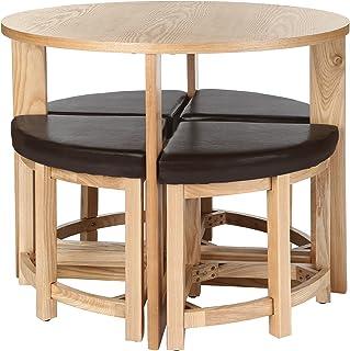 Premier Housewares 2403513 Set de Table/Tabouret Lot de 5 Pièces Placage de Noyer et Effet Cuir Brun