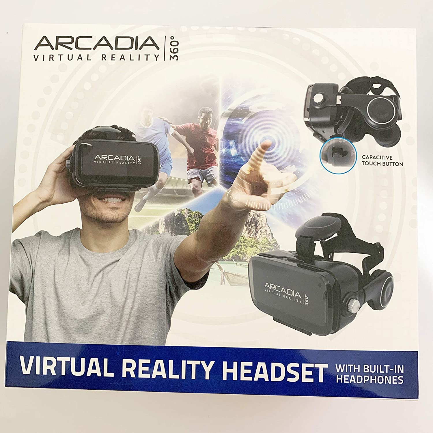 Arcadia 360 Virtual Reality Headset, VR Cell Phone Headset for Mobile Games, Movies, Travel. Compatible with Your Smartphone Device.