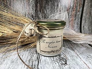 Ti voglio bene Nonna Idea Regalo Vasetto con candela personalizzabile cera di soia oli essenziali stoppino in legno Festa ...