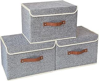 Yawinhe 3個セット収納ボックス 収納ケース ふた付き 折りたたみボックス 衣類 おもちゃ 書類 小物入れ 雑貨収納 寝室 クローゼット整理箱 約幅38×奥行25×高さ25㎝ (グレー)