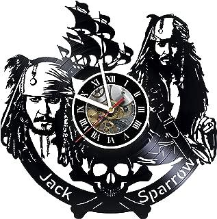 artVoloshka Captain Jack Sparrow - Wall Clock Made of Vinyl Record - Decor Original Design - Great Gifts idea for Birthday, Wedding, Anniversary, Women, Men, Friends, Girlfriend Boyfriend and Teens