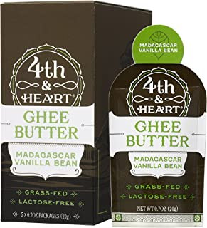 Vanilla Bean Grass-Fed Ghee Butter by 4th & Heart, On-the-Go Single Serving 5-Count, Pasture Raised, Non-GMO, Lactose Free, Certified Paleo and Keto