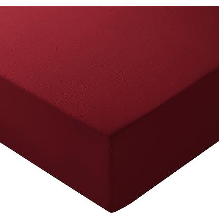 Amazon Basics Drap-housse en microfibre Bordeaux160x200x30cm