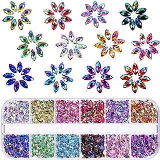 1200 Piezas 12 Colores de Diamantes de Imitación de Arte de Uñas Brillante Gemas Planas de Ojo de Caballo Materiales de Decoración con Caja