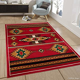 Allstar 4x5 Red Red and Mocha Southwestern Rectangular Accent Rug with Ivory, Espresso and Hunter Green Aztec Design (3' 9