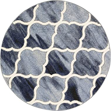 Home Culture Vision Lattice Blue Grey Round Rug for Bedroom, Living Room, High Traffic Areas of Home and Office (160 cm Round