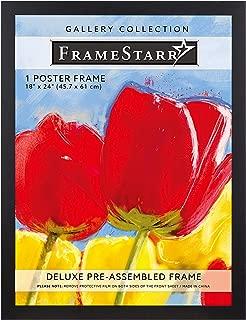 FrameStarr 18x24 Poster Frame (1 Pack, Black), Pre-Assembled Black Poster Frame 18 x 24, Solid Composite Wood Frame for Wall Mounting, Set of 1