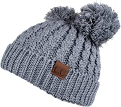 C.C Hatsandscarf Exclusives Cable Knit Double Pom Winter Beanie (HAT-60)(HAT-23)