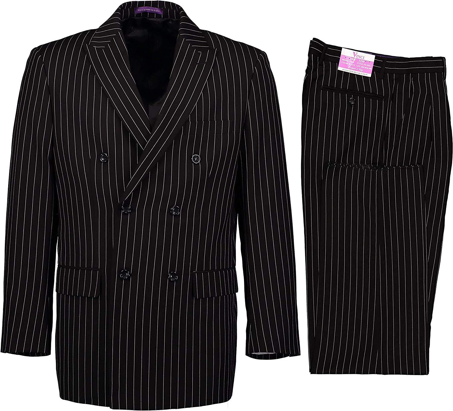 VINCI Men's Gangster Pinstriped Double Breasted 6 Button Classic Fit Suit New
