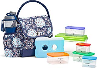 Fit & Fresh Elko Lunch Bag Kit with MyPlate Container Set and Water Bottle, Blue Blossom Medallion