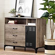 South Shore Valet 3-Drawer Buffet-Weathered Oak and Matte Black