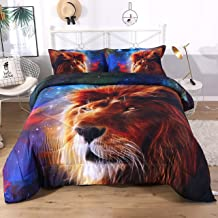 ENCOFT 3D Lovey Lion in The Blue Starry Sky Tencel Cotton Printed 3-Piece Comforter Sets