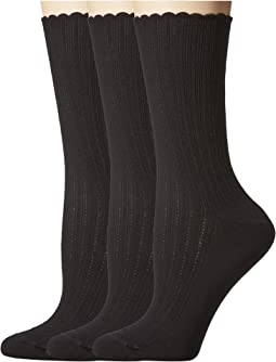 Scalloped Pointelle Socks 3-Pack