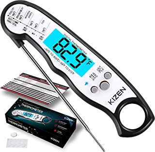 Kizen Instant Read Meat Thermometer - Best Waterproof Ultra Fast Thermometer with Backlight & Calibration. Kizen Digital F...