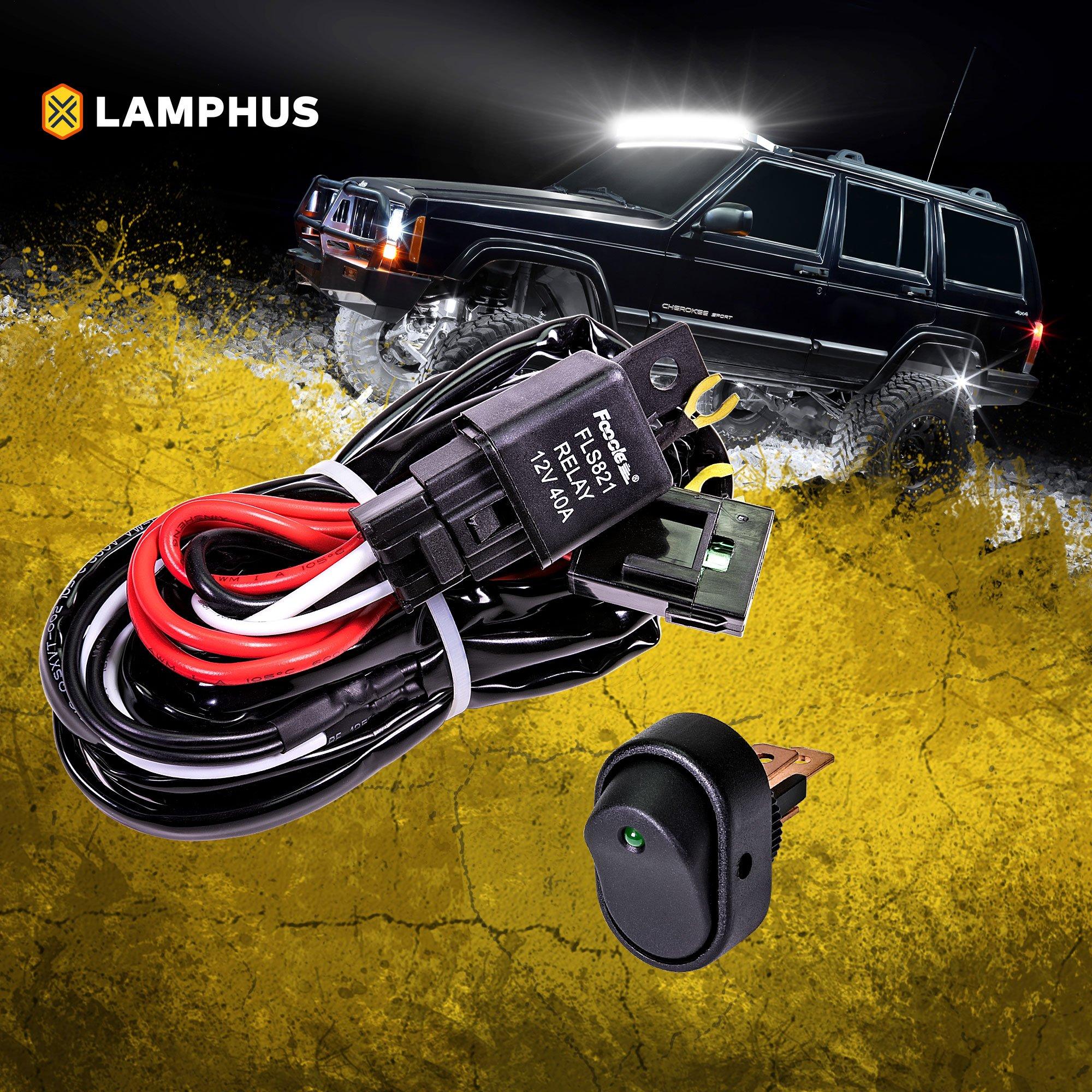 amazon.com: lamphus 12v 40a off road led light bar relay wiring harness kit  for atv - green mini on/off switch: automotive  amazon.com