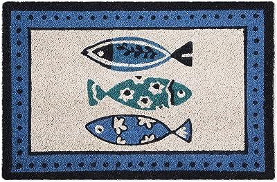 Excelsa Ocean Entrance Door Mat, Coconut Fibre, Blue, 40 x 60 cm
