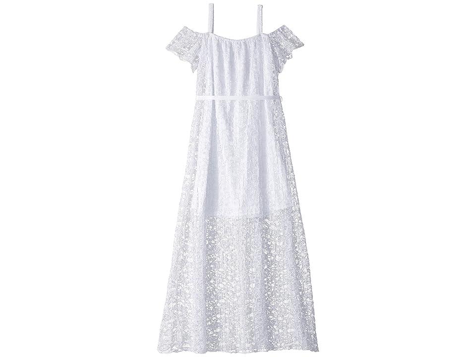 Us Angels Pleated Lace Maxi Dress (Big Kids) (White) Girl