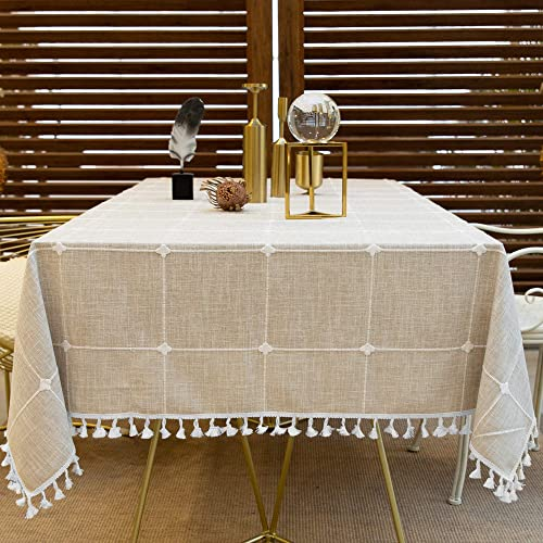 Oubonun Rustic Lattice Tablecloth Cotton Linen Light Coffee Square Table Cloths for Kitchen Dining, Party, Holiday, C...