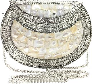 Handmade White Mother of Pearl MOP nacre bag Metal purse wallet sling bag Metal clutch women Bridal party purse